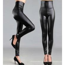 Hohe Taille Schwarz Leder Leggings für Frauen, Schwarz Faux Leder Hosen, Leggings