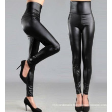 High Waist Black Leather Leggings for Women, Black Faux Leather Pants, Leggings