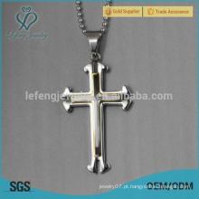Mens celtic ouro branco pingente de colar de aço inoxidável cruz