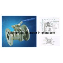Válvula de bola con brida de acero inoxidable 2PC con almohadilla de montaje directo