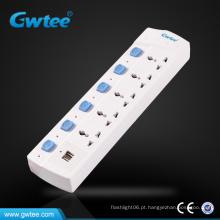 6 vias USB universal carregador porta elétrica com interruptor individual
