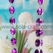 Decorative Quality Faceted Oval Acrylic Chandelier Mirror Prism 21*30MM White Bead String