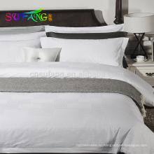 2018 гостиницы linen/Оптовая изготовленная на заказ простая белая королева Размер постельное белье комплект 100% постельных принадлежностей гостиницы хлопка