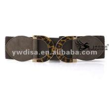 Moda cinza elástico cintos leopardo metal bukle elástico largo PU cintos com preço de fábrica BC2233-2