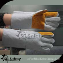 SRSAFETY yellow working split leather glove