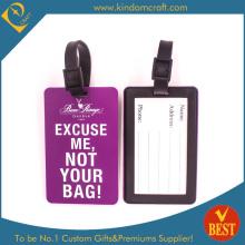 Custom Hot Sale étiquette de bagage en PVC pourpre de haute qualité pour les voyages