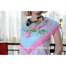 Последний модный цветок печатных квадратный шарф горячая распродажа шарф