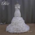 Organza vestido de casamento de organza babados saia