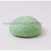 Esponja Konjac seca de forma de meia bola para cuidados faciais