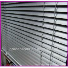 25mm Aluminiumslats metal headrail plastic wand tilt,cord lift rolls up horizontal aluminum blinds