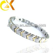 Moda jóias bloqueio de aço inoxidável cabo pulseira