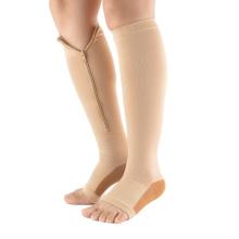 Compression Open Toe Socks Leg Support Unisex Stockings knee zip socks