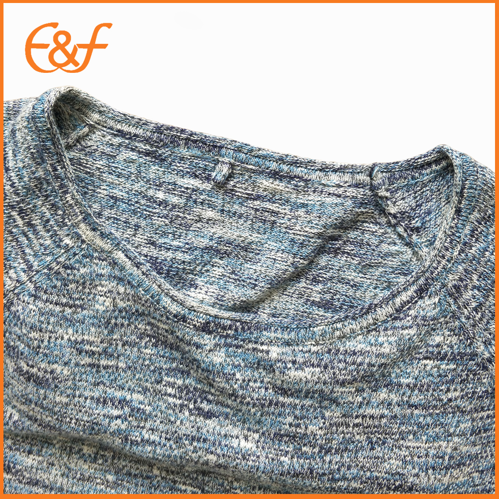 Mix yarn knitted sweater neck look