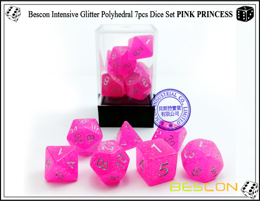 Bescon Intensive Glitter Polyhedral 7pcs Dice Set PINK PRINCESS