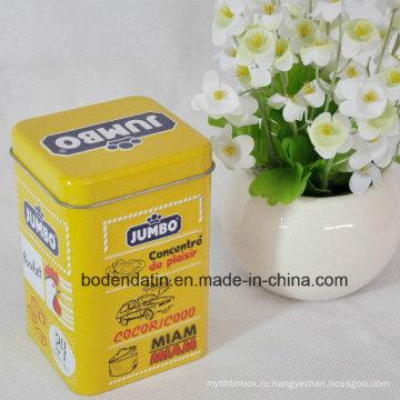 Индивидуальный металлический квадратный упаковочный ящик для чая с лаком для продуктов питания