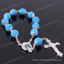 8mm blaue runde Gummikorne Rosenkranz Armband