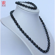 7-8mm Black Rice Freshwater Pearl Jewelry Set