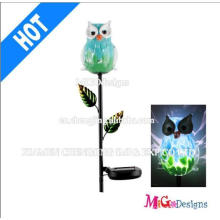 Metal and Glass Owl Solar Garden Lights Stake