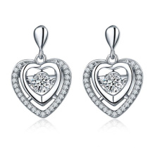 925 Silver Stud Earrings Jewelry with Dancing Diamond CZ