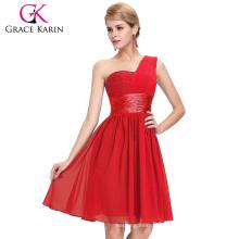 Grace Karin New Model Nice One Shoulder Chiffon Red Short Prom Dress CL4106-1#