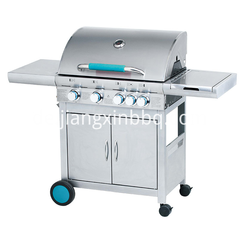 4 1 Stainless Steel Double Layer Hood Gas Grill Blue