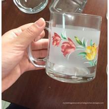 Caneca agradável do vidro da flor do decalque Copo de vidro para a cerveja