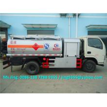 Venda quente 5000 litros pequeno petroleiro, dongfeng combustível móvel tanque com dispensador de combustível