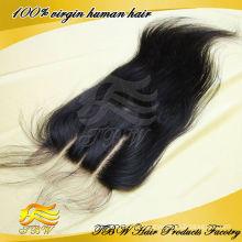 Qingdao usine vierge brésilienne cheveux humains 4 * 4 pouces 3 voies partie suisse dentelle fermeture