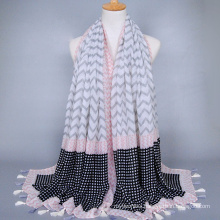 Hot seller for market wave pattern tassels voile stole arabic hijab shawl scarf wholesale china