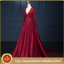 2017 Noble Charming Backless Red A Line Lace Evening Gown Custom Long Sleeve V-neck Satin Embroidered Evening Dress ASAD004