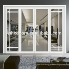 White aluminum door frame wooden lattice glass door