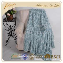 rose brushed fake fur blanket with white sherpa backside
