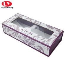 cardboard eyelash packaging box magnetic with clear window