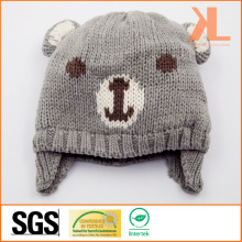 100% Acrylic Knitted Bear Hat for Babies