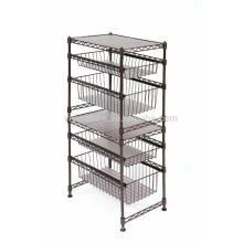 Vivinature Storage Cart 3 Tier Wire Kitchen Shelf Metal Wheeled Rack Utility Stand