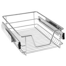 Panier de tiroir coulissant de cuisine de galvanoplastie télescopique