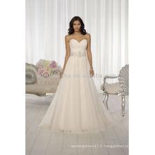 Robes de mariée populaires en 2014 Sweetheart Backless A-Line avec perles plissées Cris-Cross Crystal Sash Accent NB019