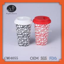 Keramik-Kaffeetasse ohne Griff, Kaffeetasse mit Silikon-Deckel