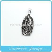 Высокое качество нержавеющей стали 316L черной эмалью Девы Марии ожерелье подвески медальон 1830