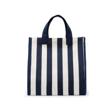Low MOQ Durable Strong Standard Size Striped Canvas Bags Tote Shopping Bag