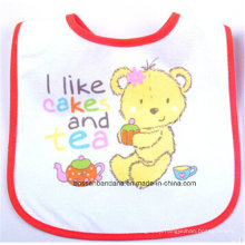OEM Produce Customized Cartoon Printed Cotton White Baby Wear Bib