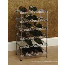 Multi-nível ajustável do metal do cromo vinho porta-garrafa suporte titular