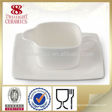 White ceramic restaurant gravy boat with saucer mini ceramic milk jug