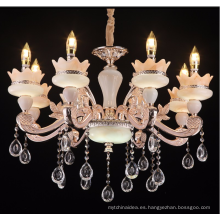 Araña de cristal de jade europea La sala de estar comedor villa lujo salón de aleación de zinc lámpara de vela lámpara de hotel de club grande