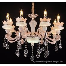 European jade crystal chandelier The sitting room dining-room villa luxury hall zinc alloy candle chandelier Big club hotel lamp