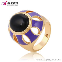 Fashion Fancy Oval Black Stone 18k Gold-Plated Imitation Jewelry Finger Ring-13717
