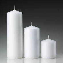 Vit oskärpa billiga Point Top Pillar Candles