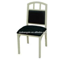 Chaise en acier inoxydable à dossier, chaise à manger en métal pour hôtel