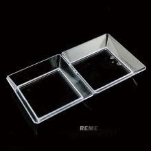 Plastic Disk Disposable Saucer Sqare 2 Compartment Tray