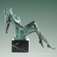 Nude Statue Village Lady Bronze Sculpture Tple-038
